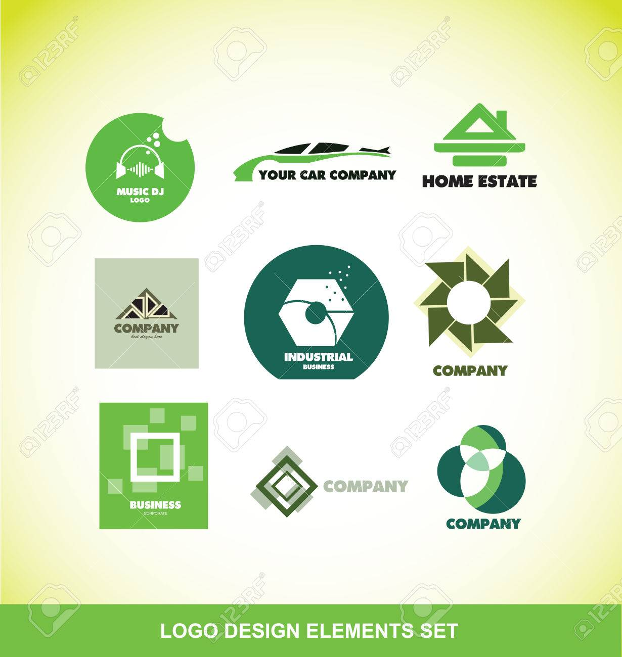 Company Logo Icon Element Template Set Music Dj Sound Volume ...