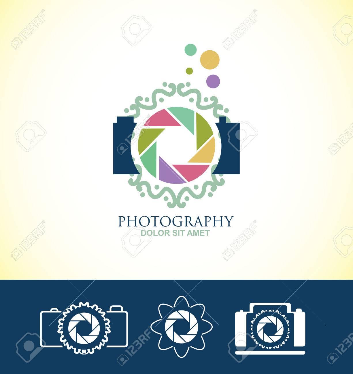 Firmenlogo Blumen Fotograf Blau Paster Symbol Element Farben Vorlage