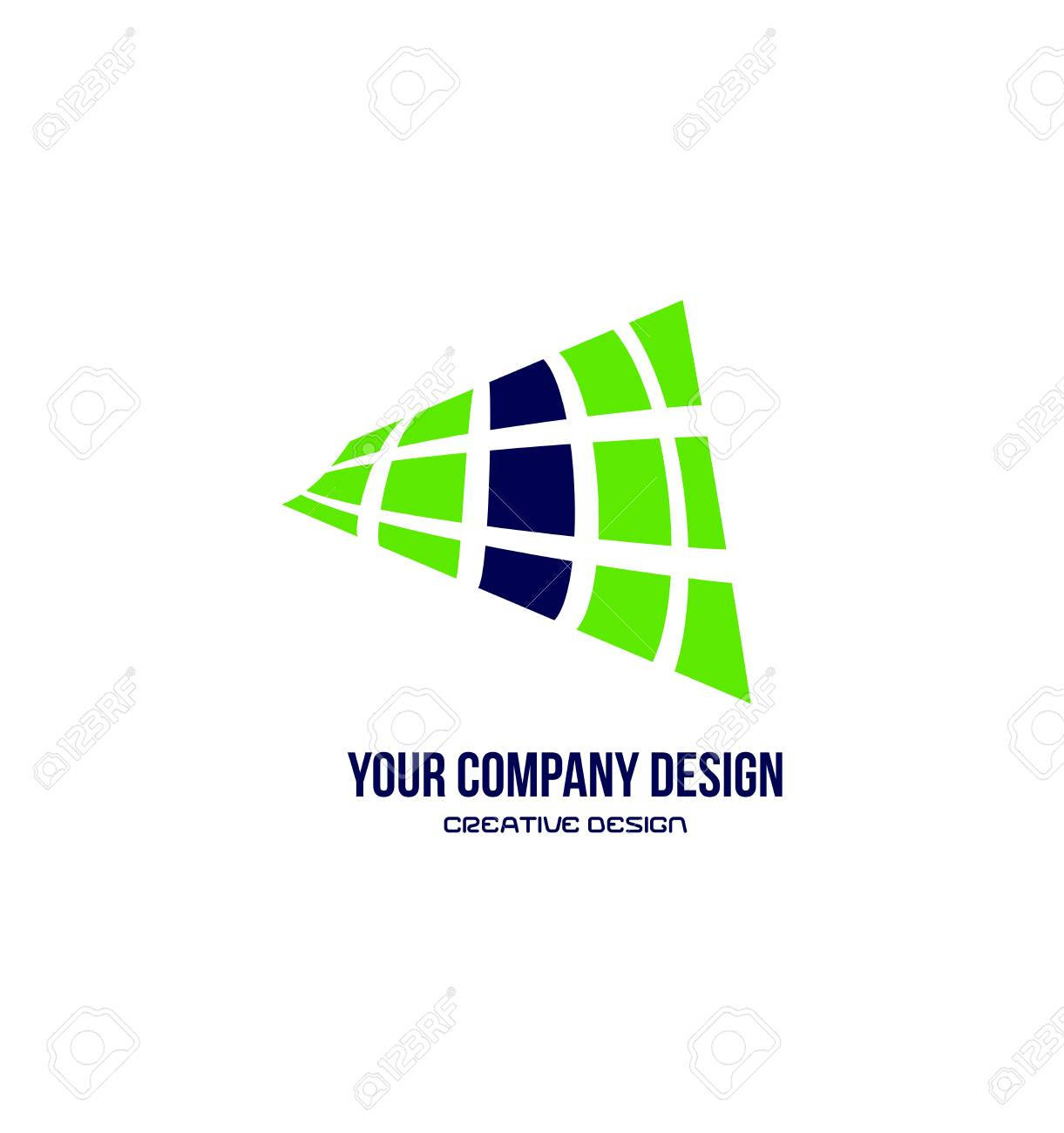 vector company logo icon element template abstract grid green