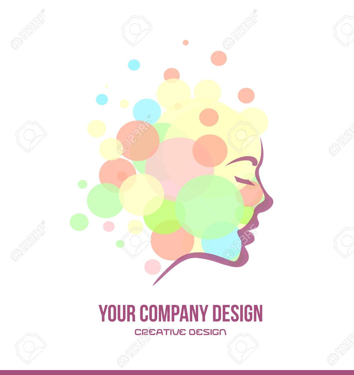 Vector Company Logo Icon Element Template Cosmetics Beauty Products Woman Face Contour Profile Bubble Stock