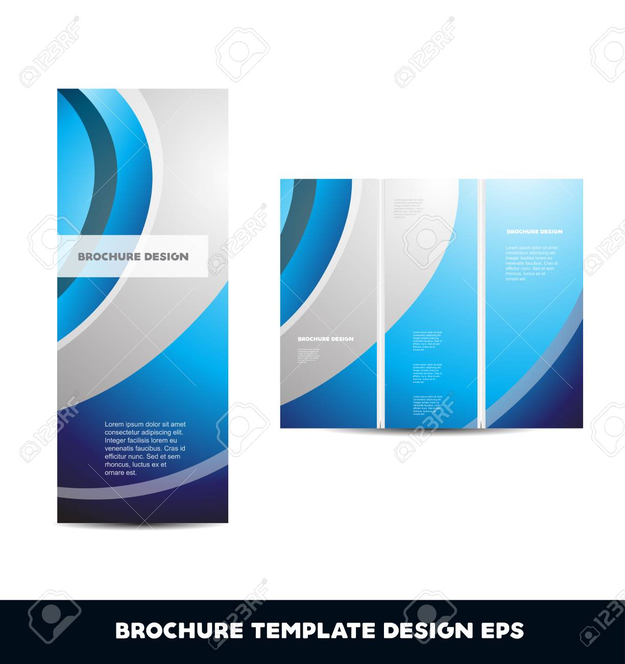 blue silver grey vector brochure layout design template tri folded