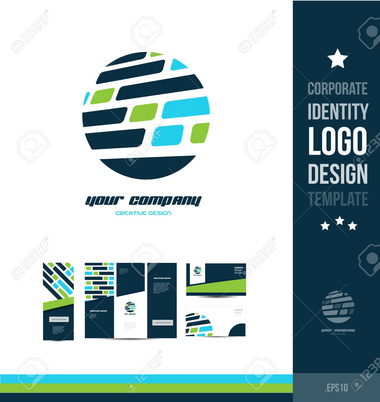 corporate identity blue green circle grid design icon company