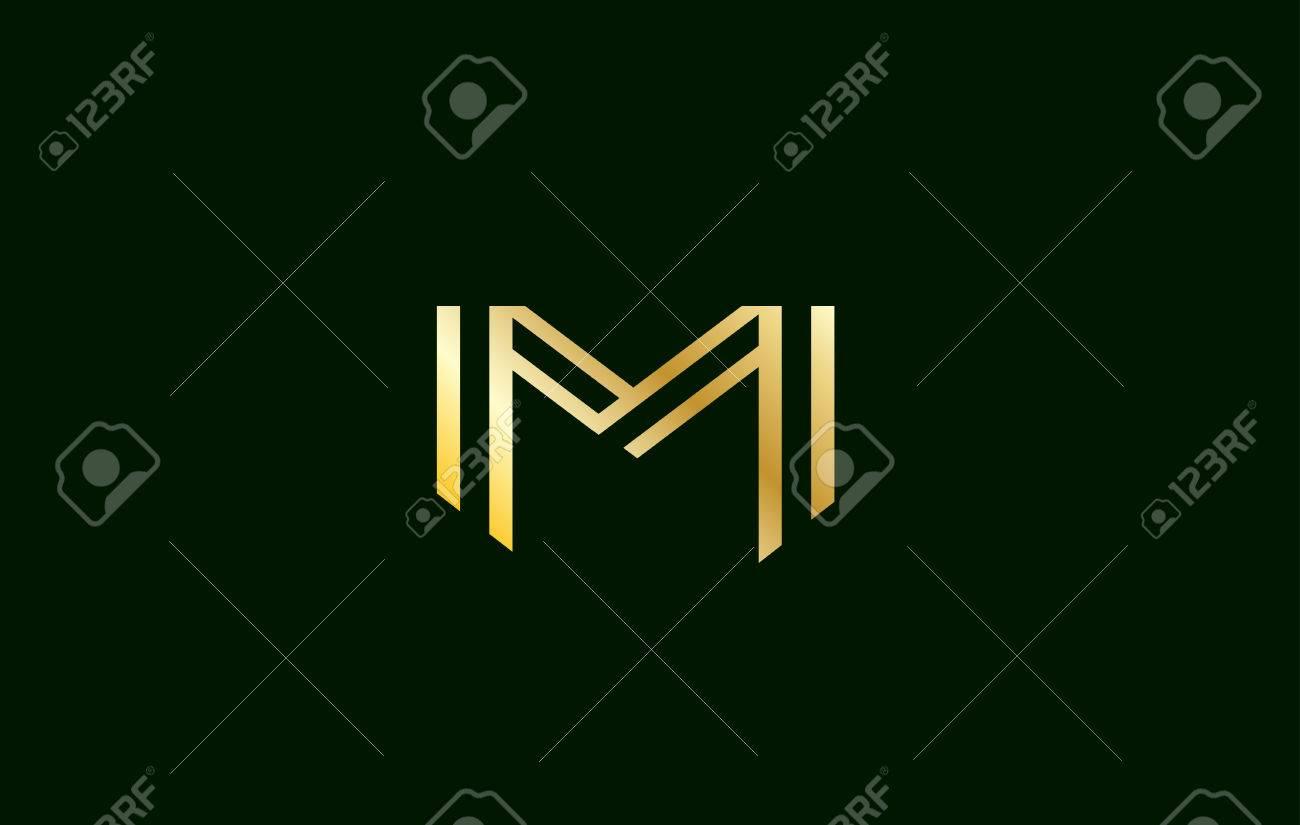 alphabet letter m gold golden luxury vector logo icon sign design