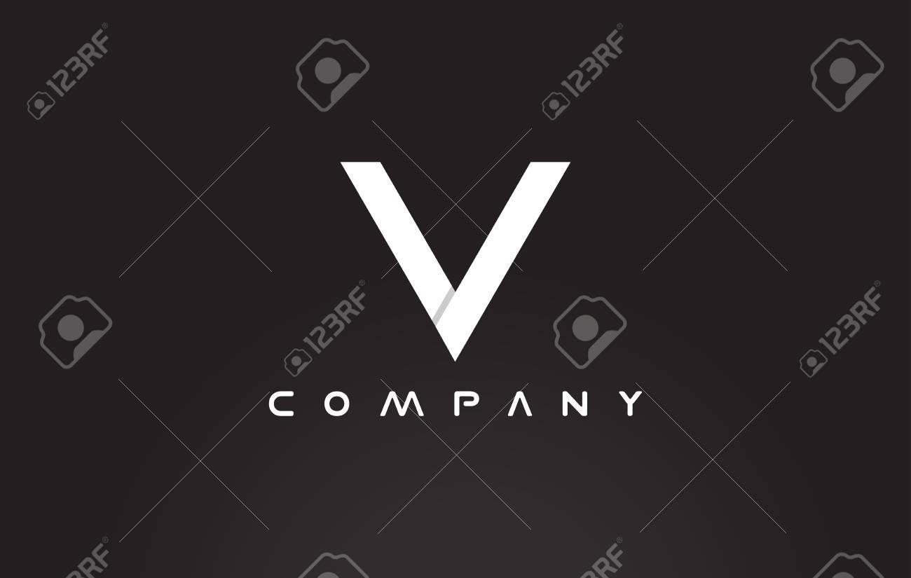 Alphabet Letter V Black White Background Vector Logo Icon Sign