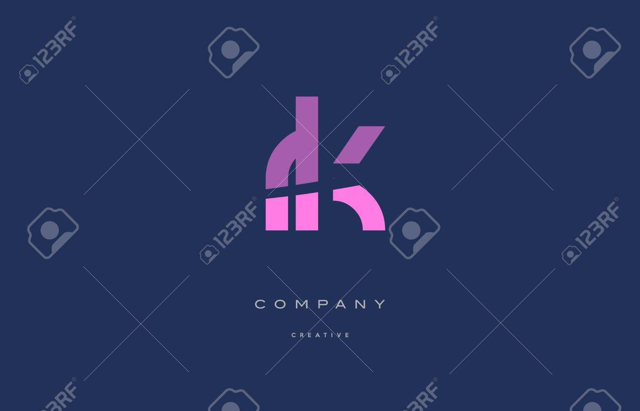 Rk r k pink blue pastel modern abstract alphabet company logo design vector icon template - 73803486