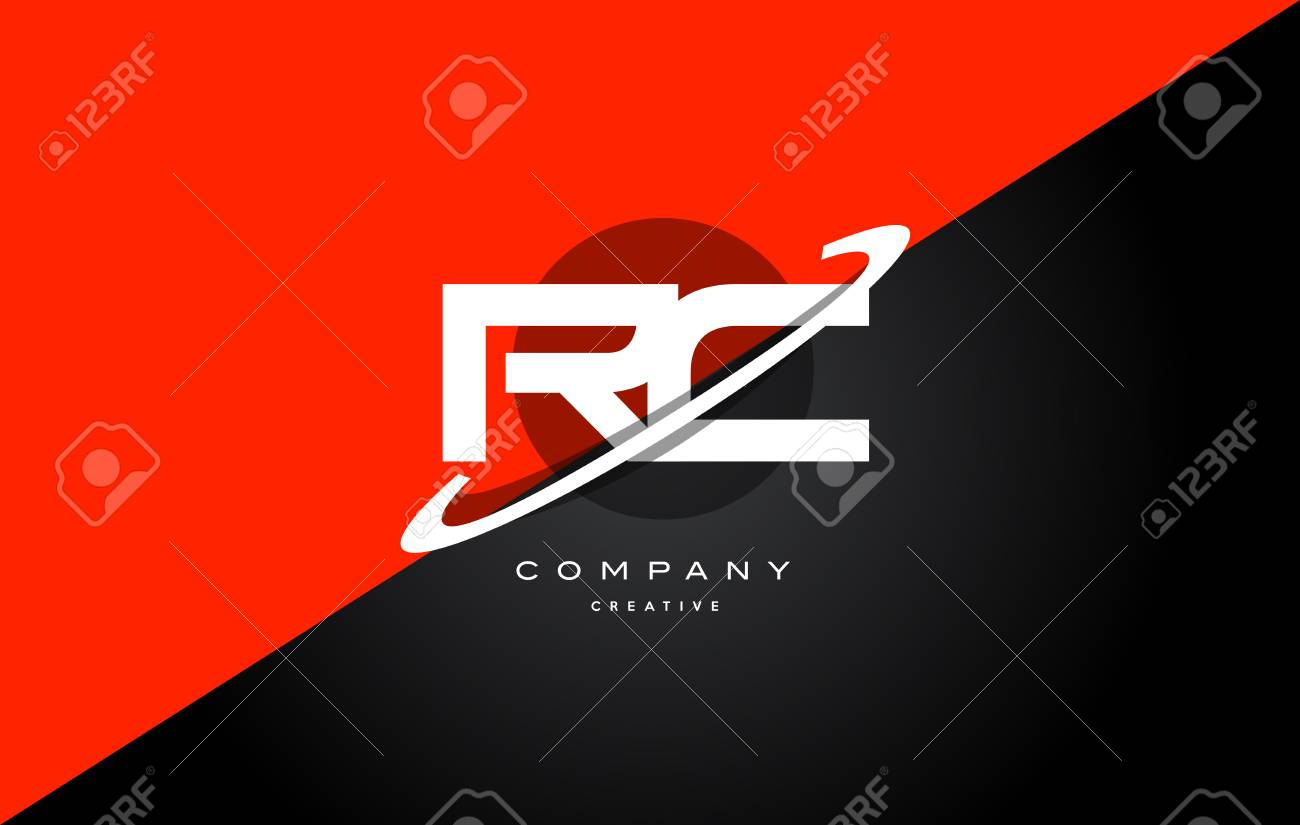 Rc R C Red Black White Technology Swoosh Alphabet Company Letter