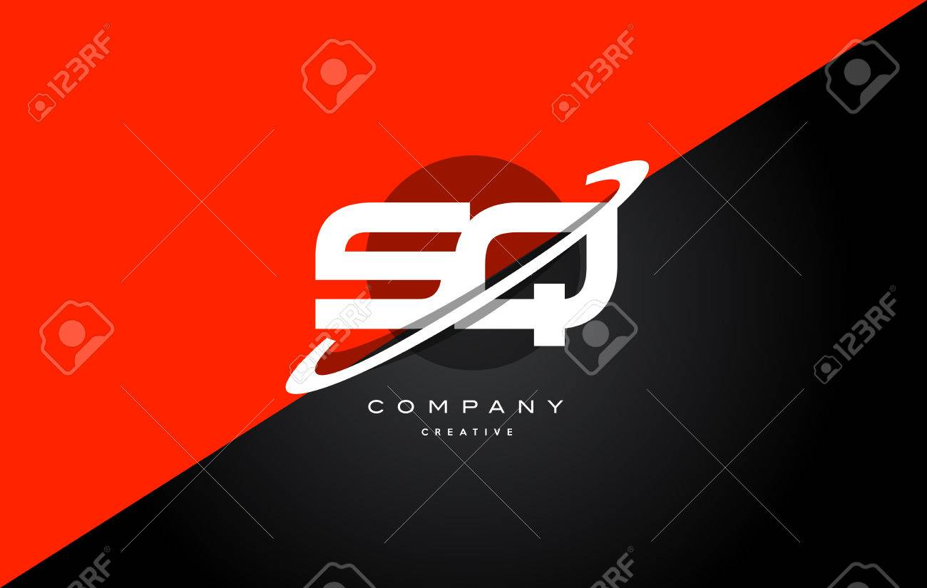 Sq s q red black white technology swoosh alphabet company letter logo design vector icon template - 73961659