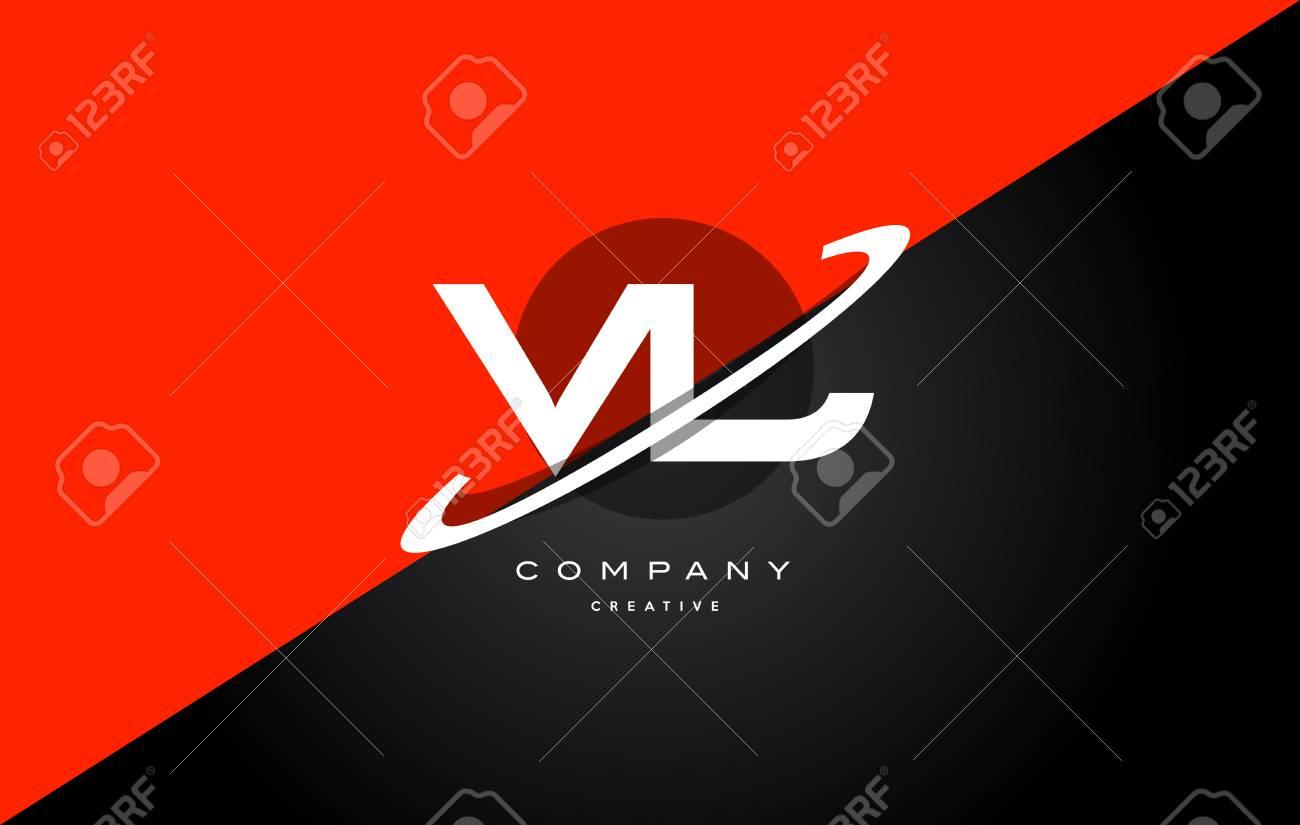 Vl Vl Rot Schwarz Weiss Technologie Swoosh Alphabet Firma Brief Logo Design Vektor Icon Vorlage