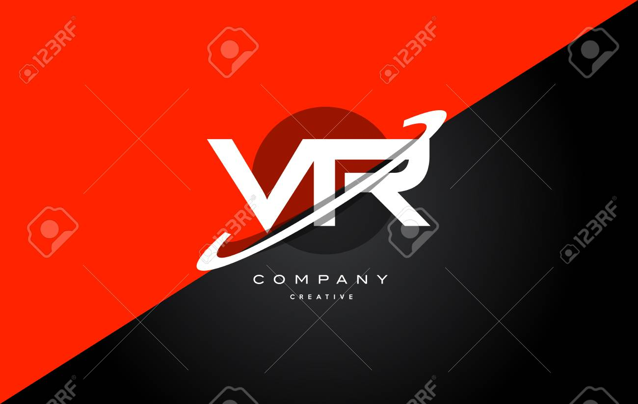 Vr V R Red Black White Technology Swoosh Alphabet Company Letter