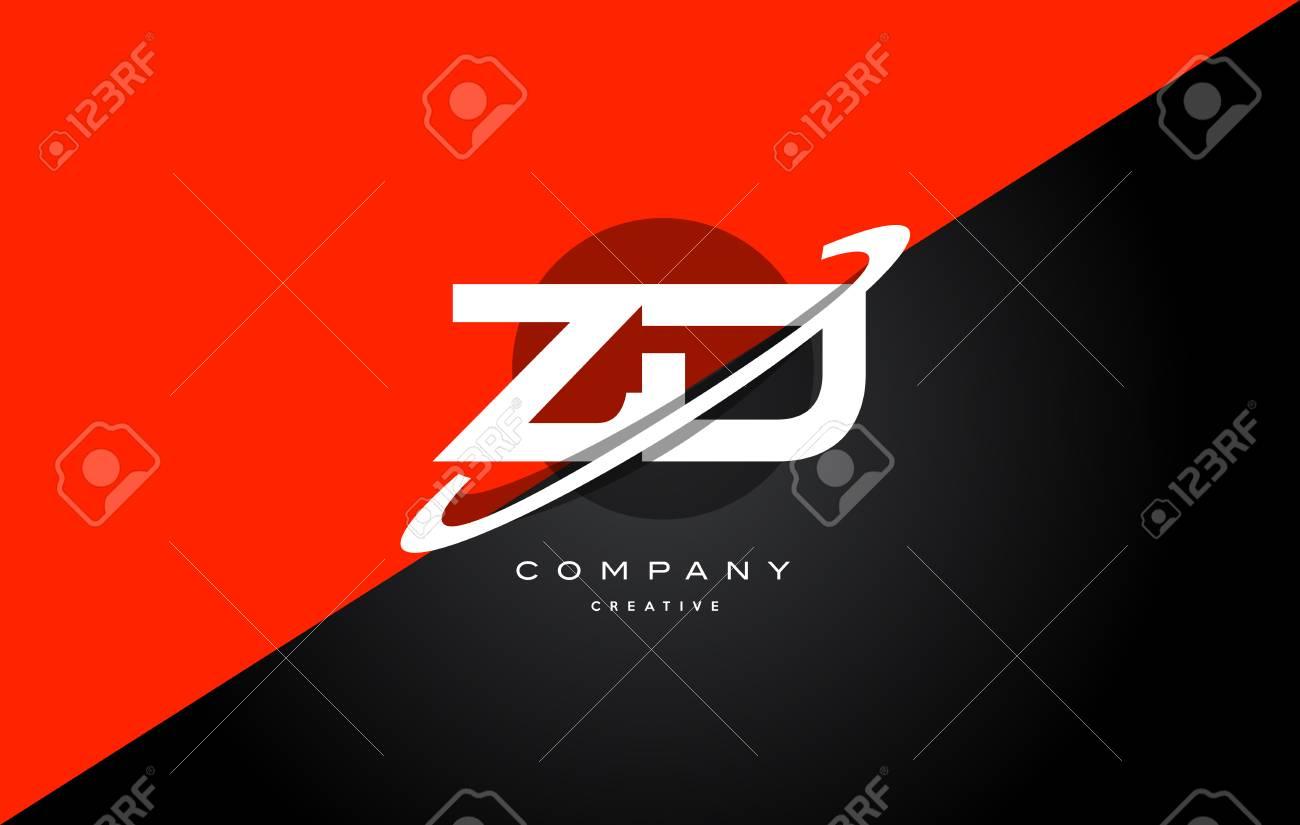 Zd Z D Red Black White Technology Swoosh Alphabet Company Letter