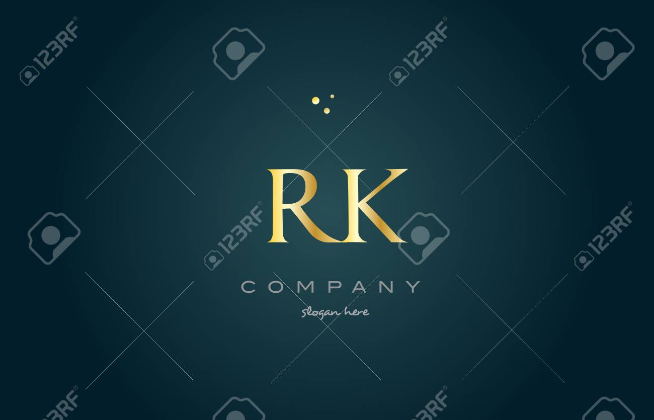 rk r k gold golden luxury product metal metallic alphabet company letter logo design vector icon template green background - 74186699