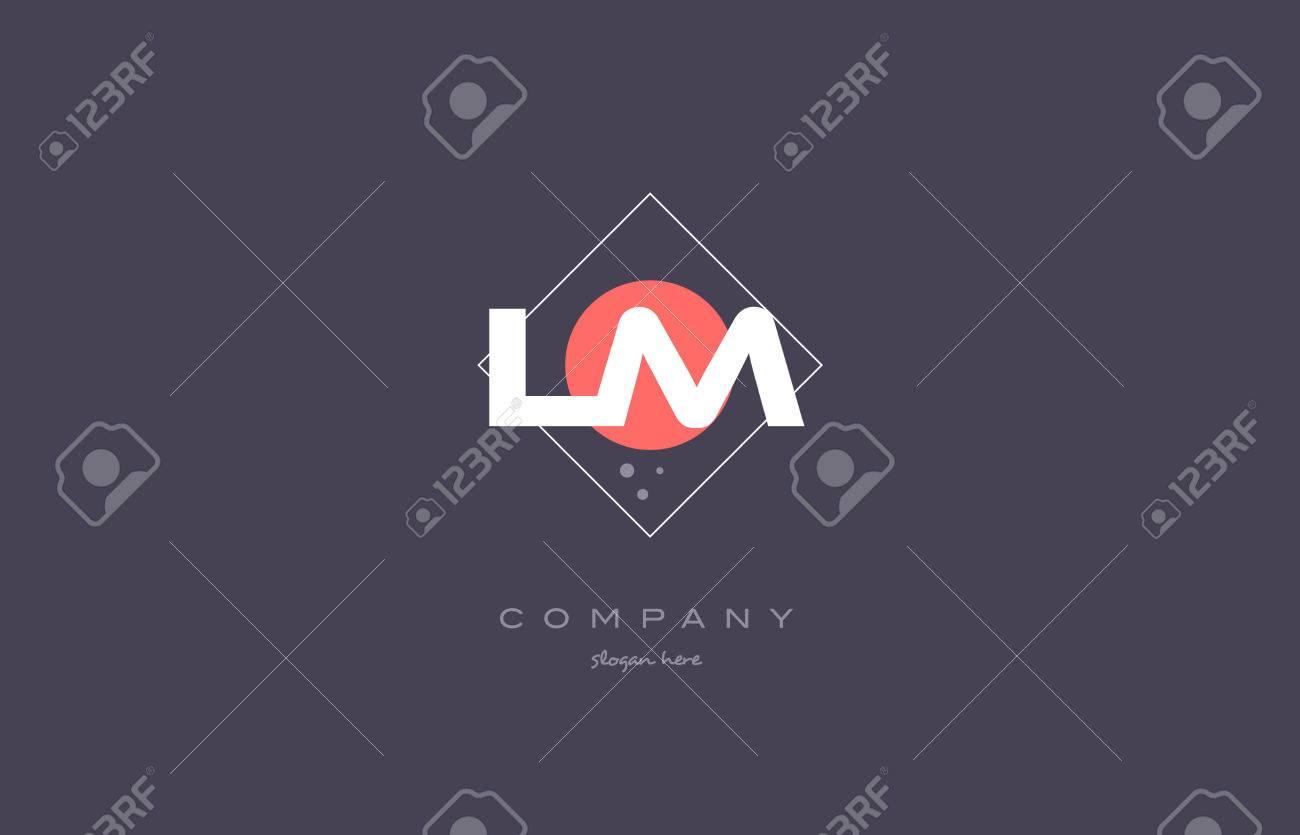 lm l m vintage retro pink purple rhombus alphabet company letter logo design vector icon creative template background - 74222096