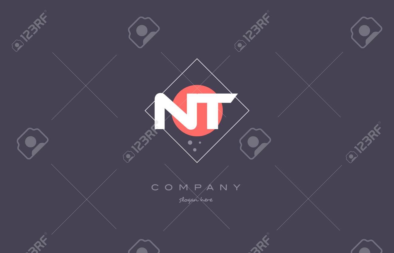 Nt N T Vintage Retro Pink Purple Rhombus Alphabet Company Letter