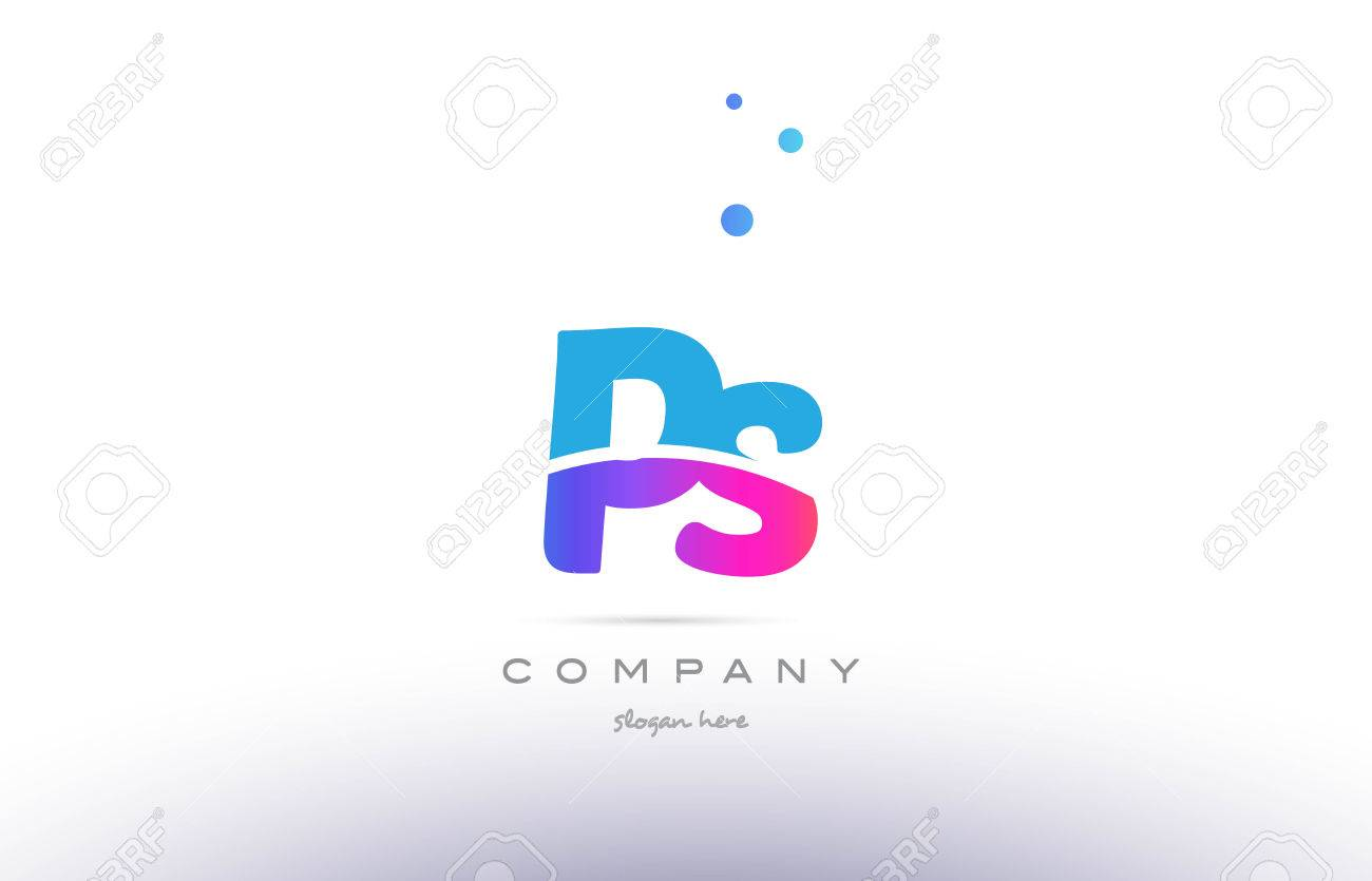 Ps Pink Purple Blue White Uppercase Lowercase Modern Creative