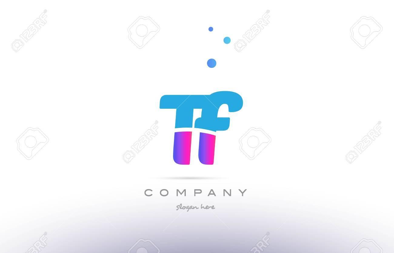 Tf T F Pink Purple Blue White Uppercase Lowercase Modern Creative