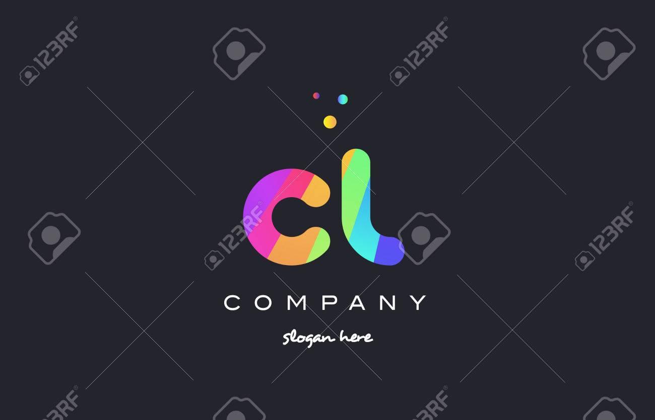 cl c l creative rainbow green orange blue purple magenta pink artistic alphabet company letter logo design vector icon template - 75807869