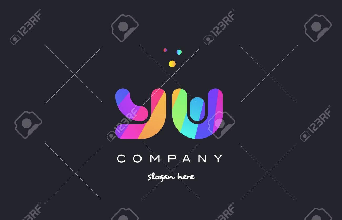Yw Yw Créatif Arc En Ciel Vert Orange Bleu Violet Magenta Rose Alphabet Artistique Société Lettre Logo Création D Icône Vecteur Modèle