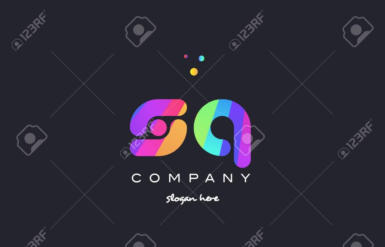 sq s q creative rainbow green orange blue purple magenta pink artistic alphabet company letter logo design vector icon template - 75808353