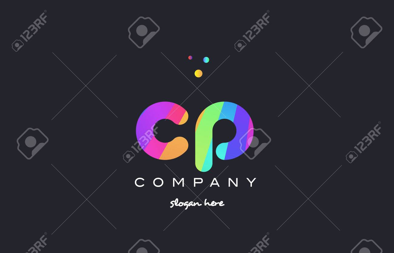 Cp C P Creative Rainbow Green Orange Blue Purple Magenta Pink Artistic Alphabet Company Letter Logo Design