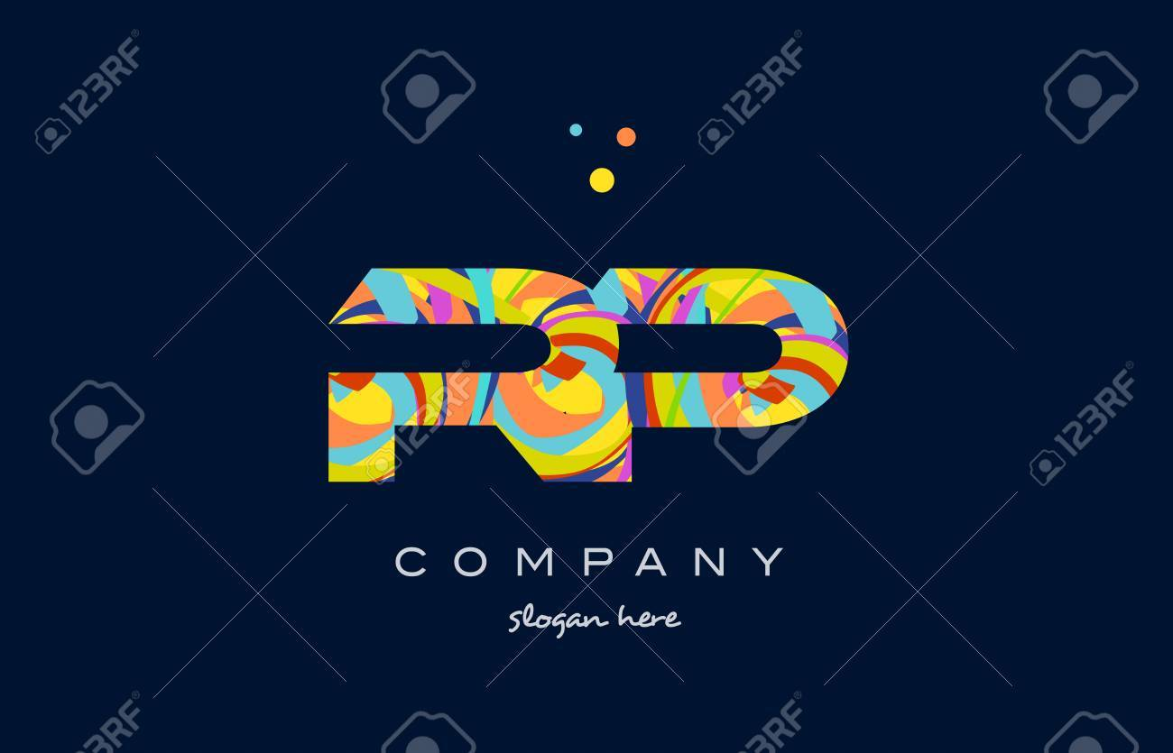 rp r p alphabet letter logo colors colorful rainbow acrylic font creative text dots company vector icon