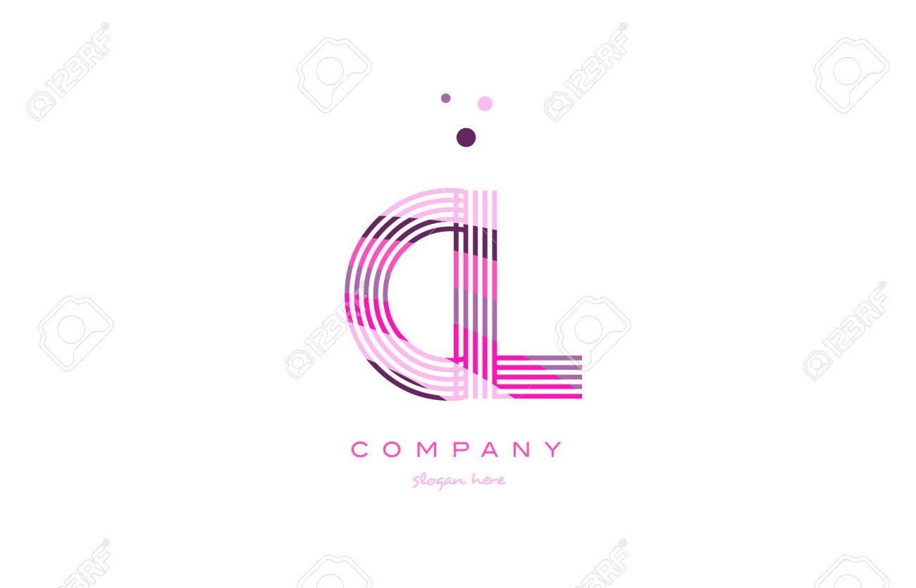 cl c l alphabet letter logo pink purple line font creative text dots company vector icon design template - 79355367