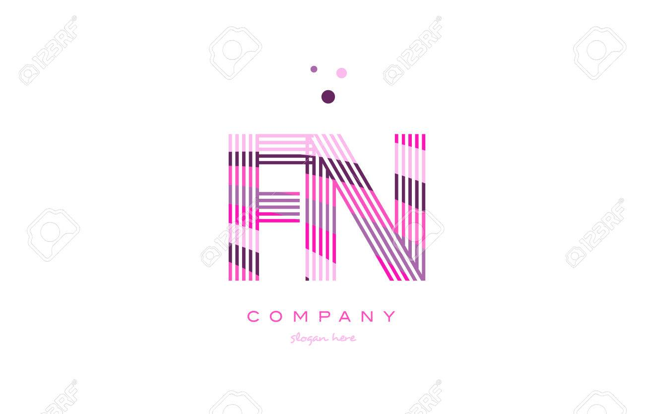 Fn F N Alphabet Letter Logo Pink Purple Line Font Creative Text Dots Company Vector Icon Design