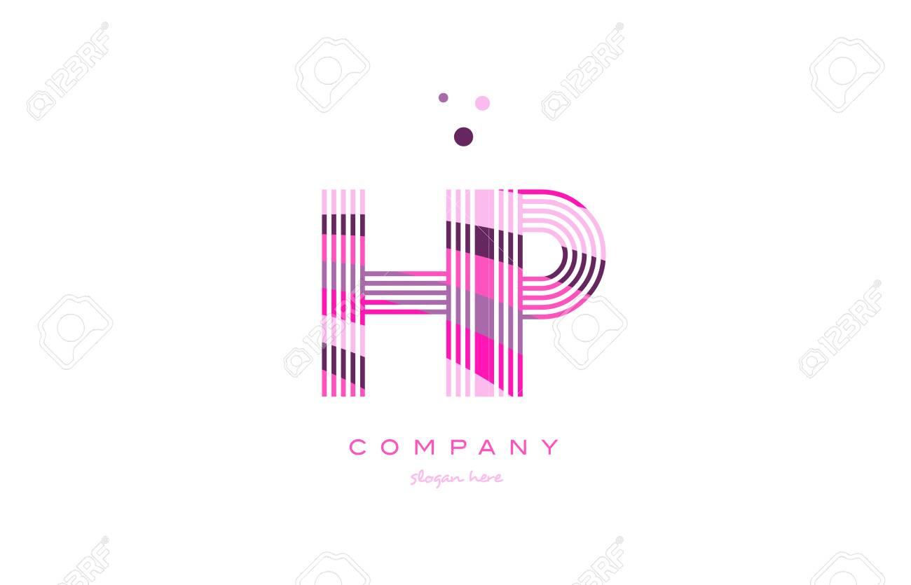 Hp H P Alphabet Letter Logo Pink Purple Line Font Creative Text Dots Company Vector Icon Design