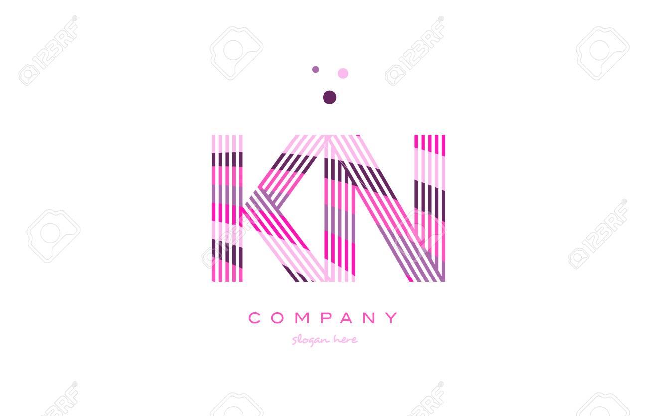 Kn K N Alphabet Letter Logo Pink Purple Line Font Creative Text