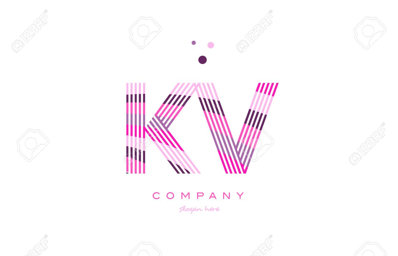 Kv K V Alphabet Letter Logo Pink Purple Line Font Creative Text Dots Company Vector Icon Design