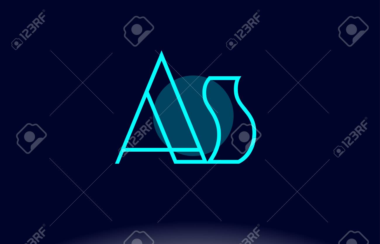 as a s blue line circle letter logo alphabet creative company vector icon design template stock vector