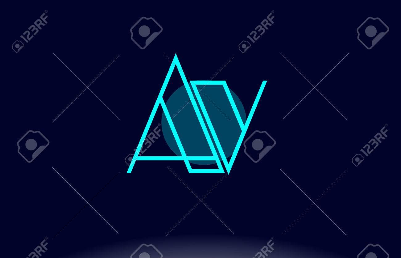 av a v blue line circle letter logo alphabet creative company vector icon design template stock vector