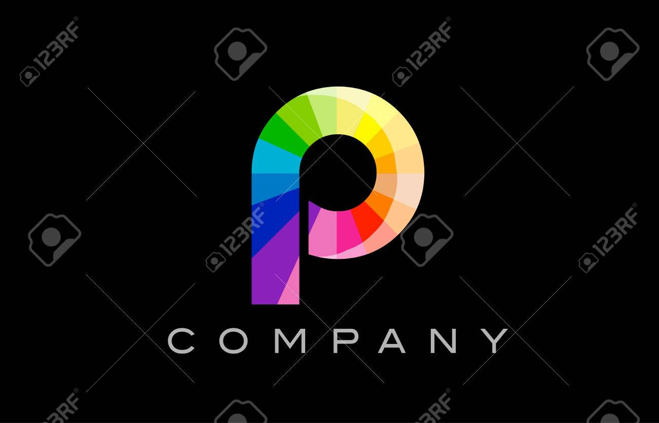 P Alphabet Letter Mosaic Rainbow Logo Vector Creative Company