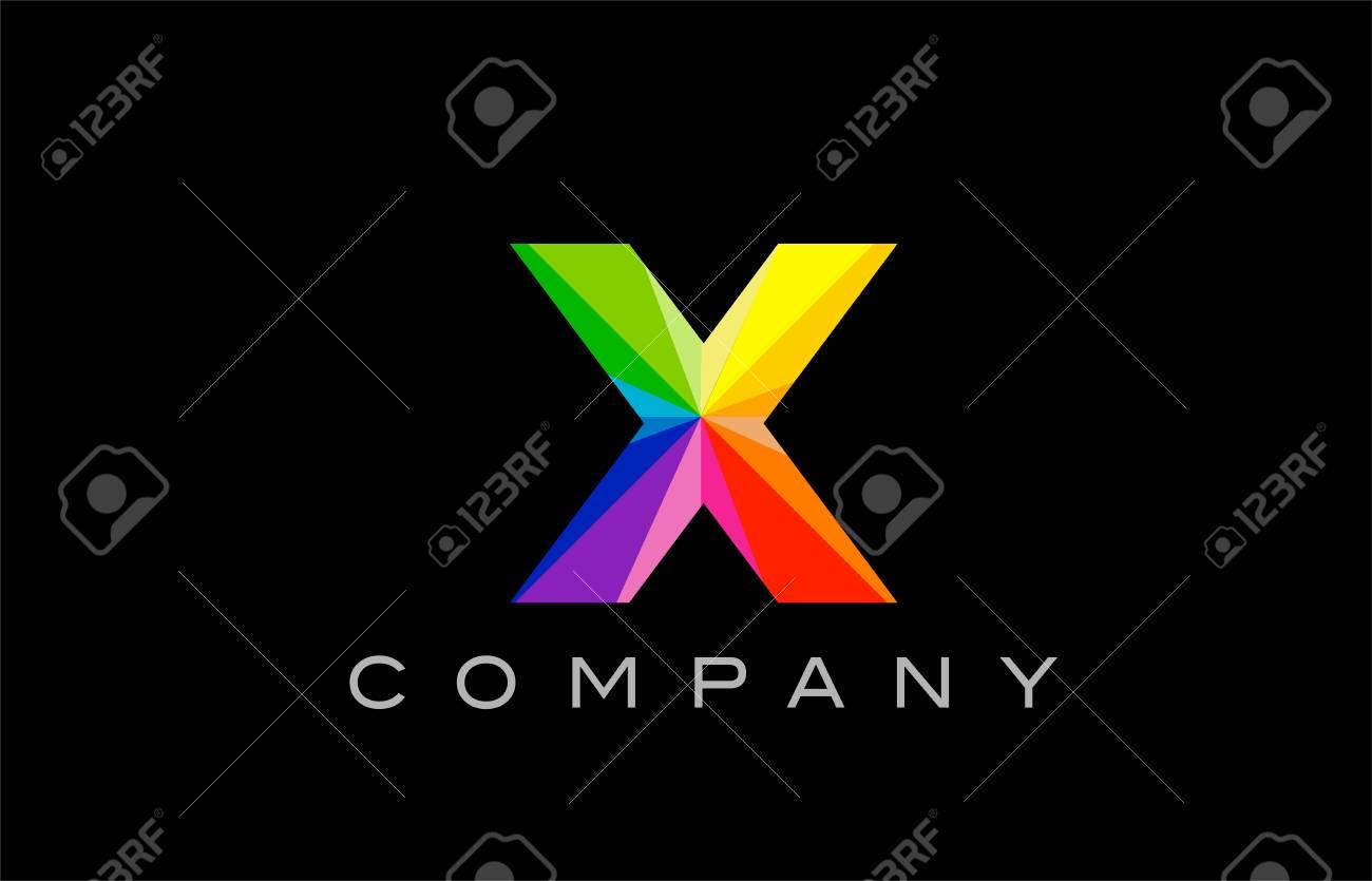 X Alphabet Letter Mosaic Rainbow Logo Vector Creative Company