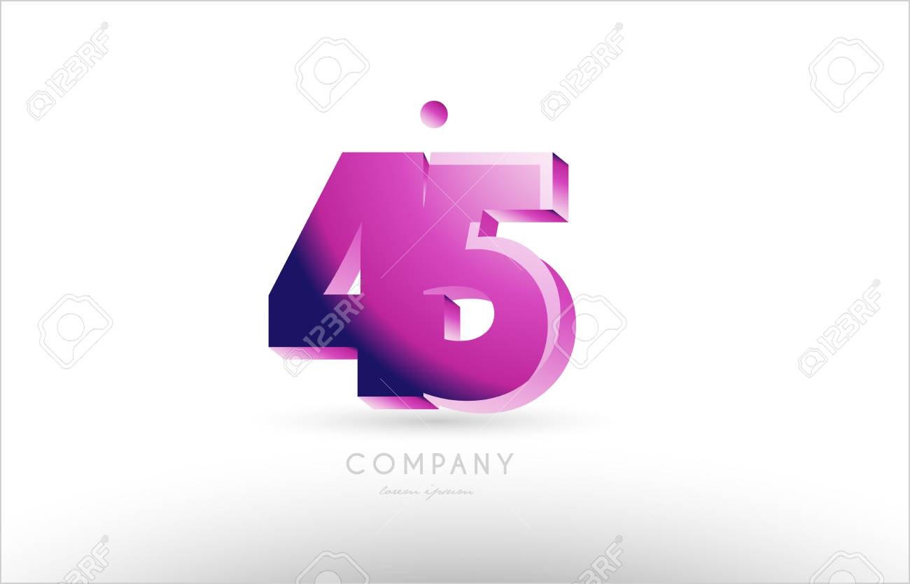 Number 45 black white pink bold logo vector creative company icon design template 3d background stock