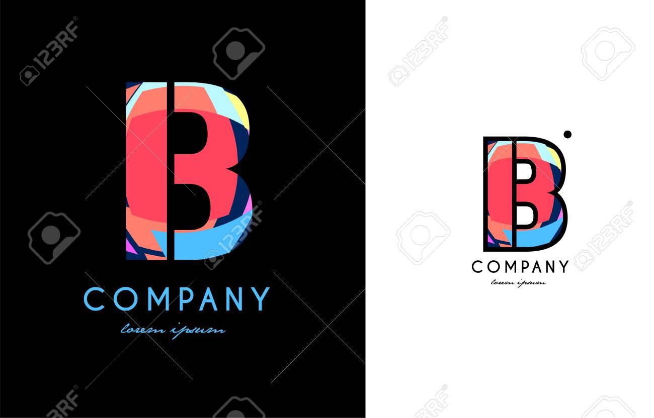 B Bleu Lettre Rouge Alphabet Affaires Logo Creatif Vecteur Entreprise Icone Design Modele Point Moderne Clip Art Libres De Droits Vecteurs Et Illustration Image 84888141