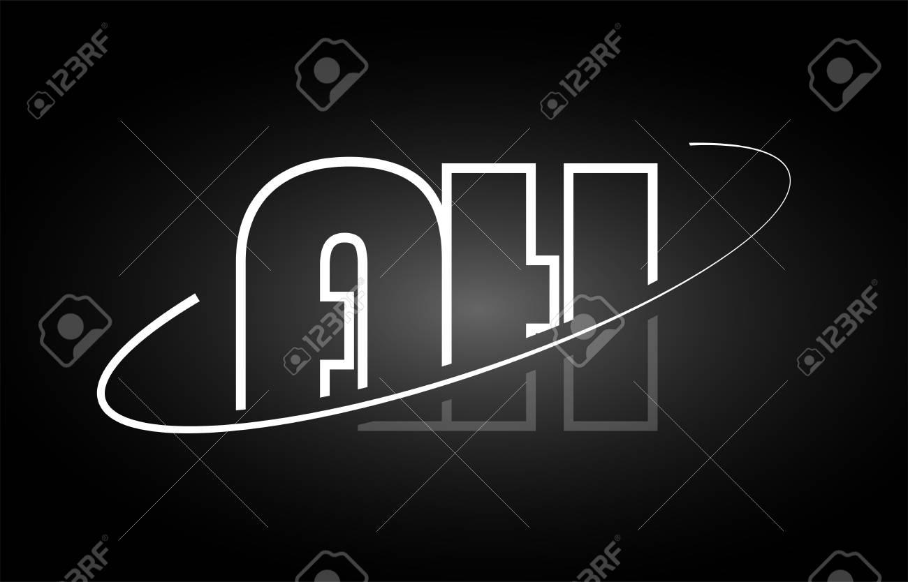AH A H letter logo combination black white alphabet