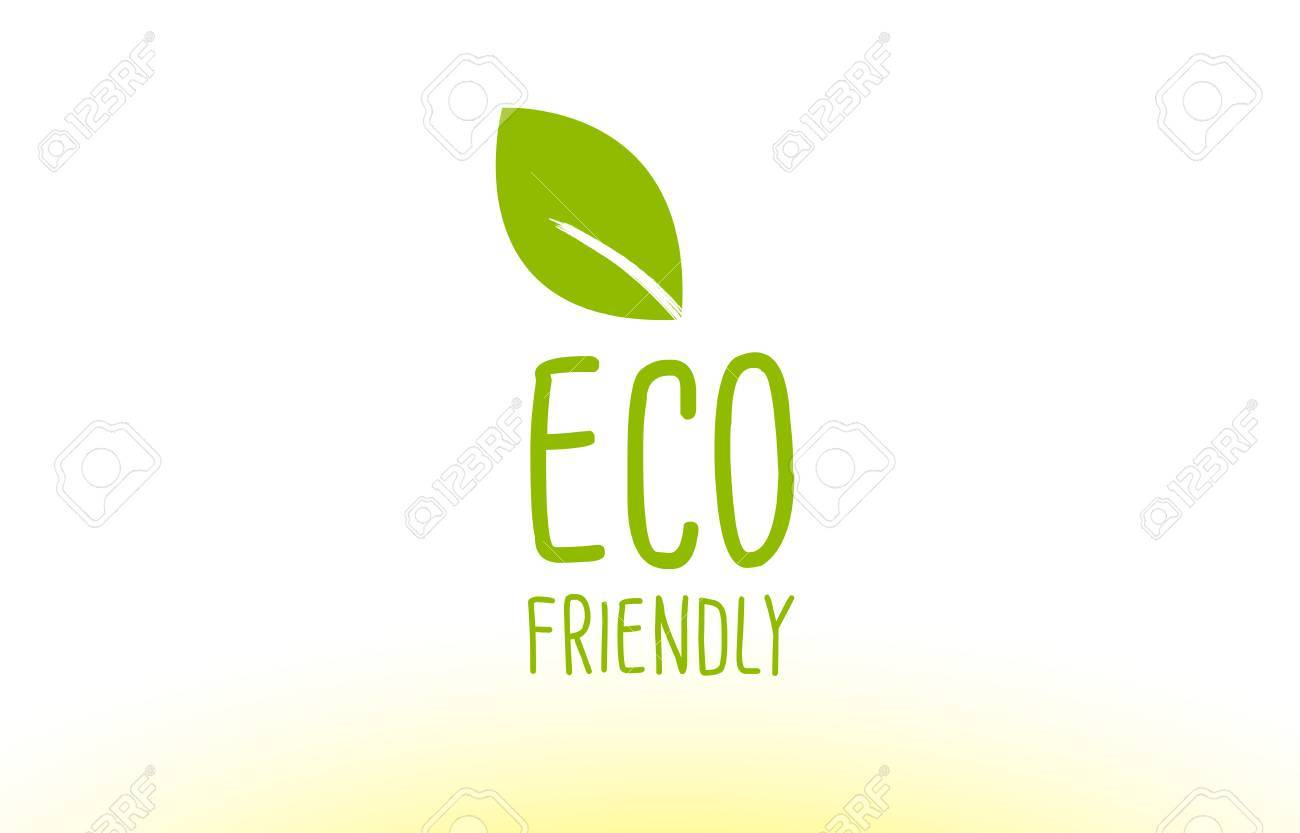 Eco Friendly Green Leaf Text Concept Logo Vector Creative Company Icon  Design Template Modern Background Hand  Leaf Template For Writing