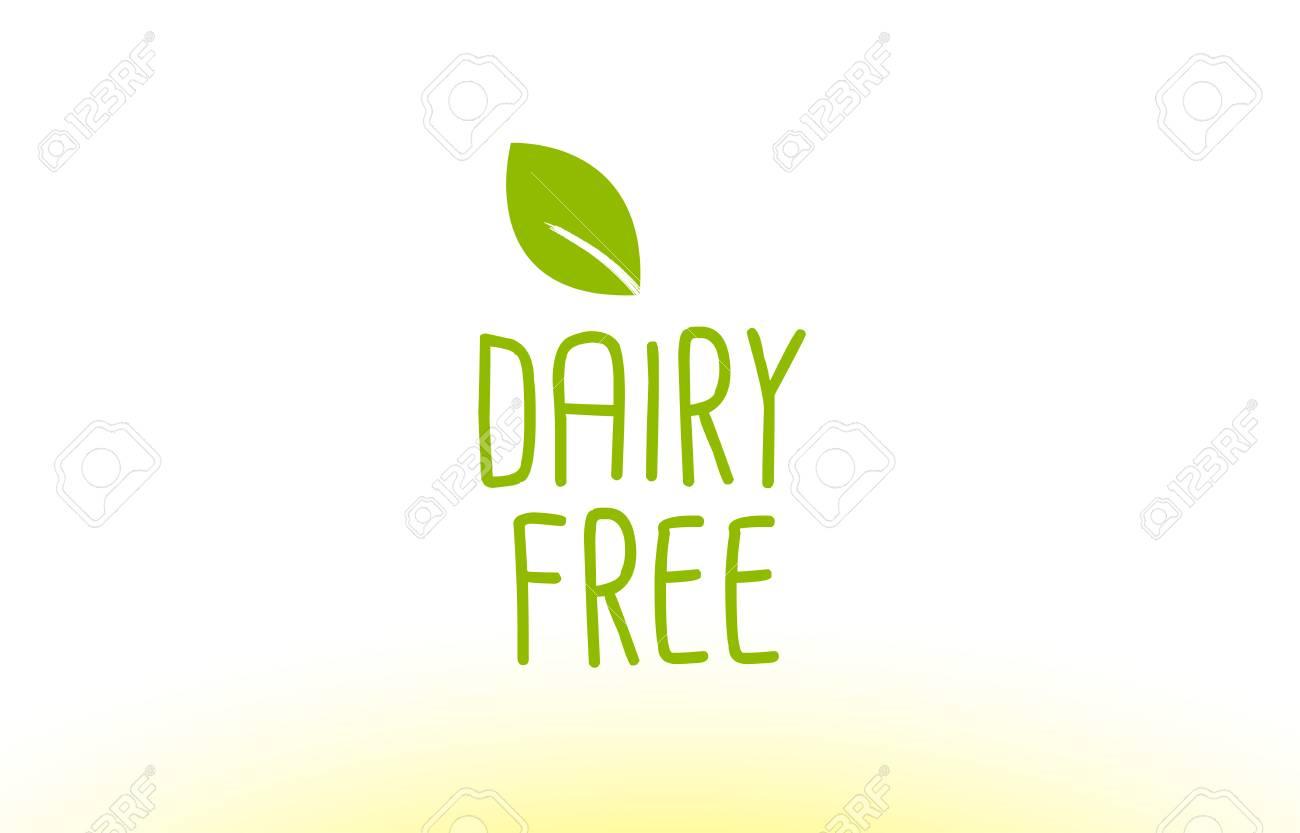 Lácteos Hoja Verde Gratis Concepto De Texto Logotipo Vector Creativo ...