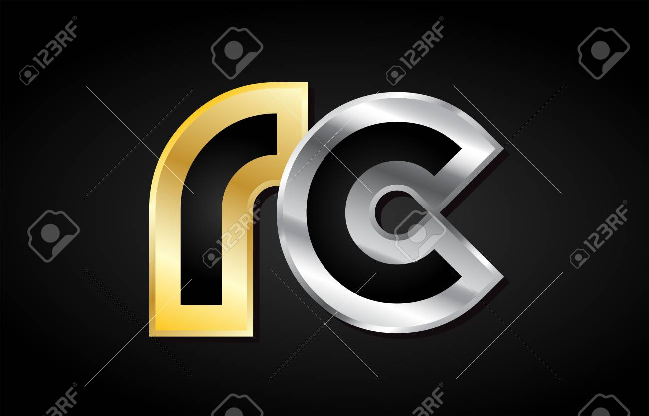 Rc R C Gold Golden Silver Alphabet Letter Metal Metallic Grey