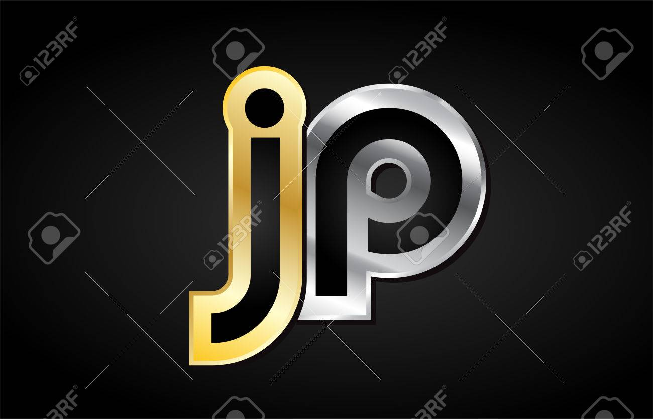 jp j p gold golden silver alphabet letter metal metallic grey