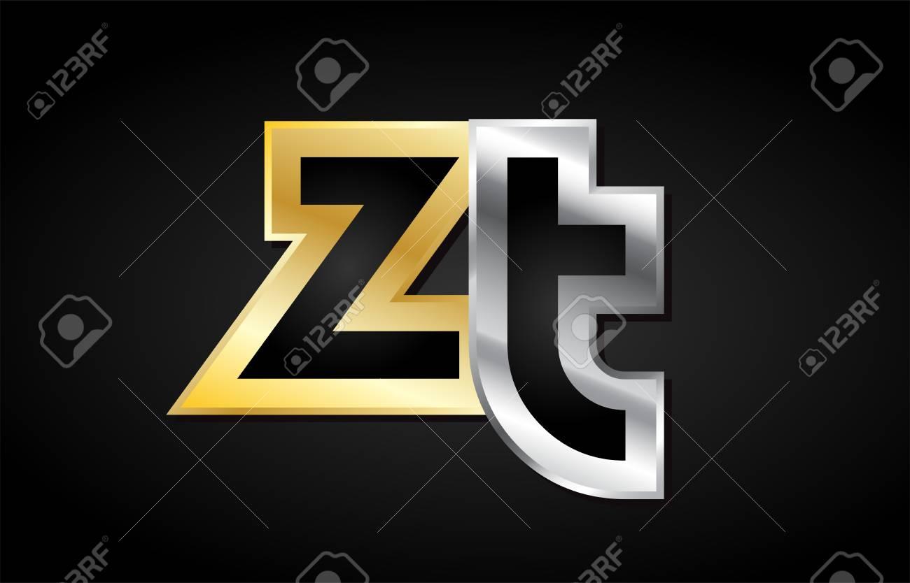 ZT Z T gold golden silver alphabet letter metal metallic grey