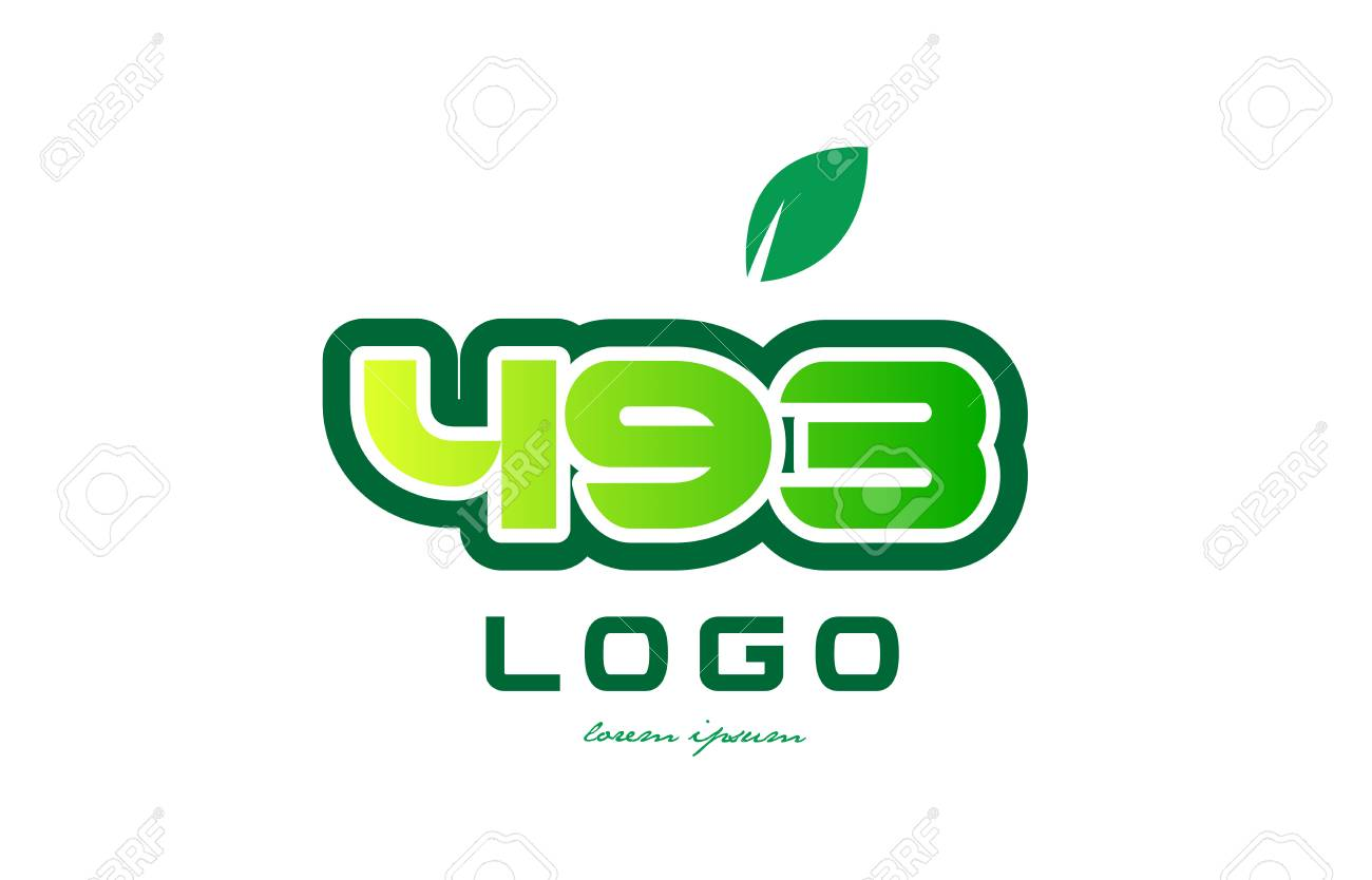 Design Of Number Numeral Digit 493 With Green Leaf And Color ...