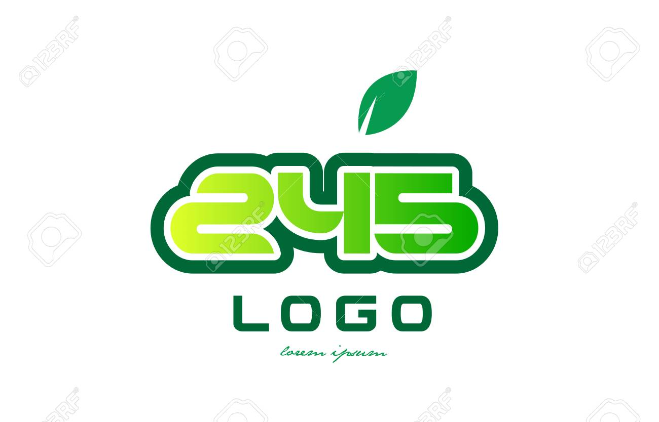 Design Of Number Numeral Digit 245 With Green Leaf And Color ...