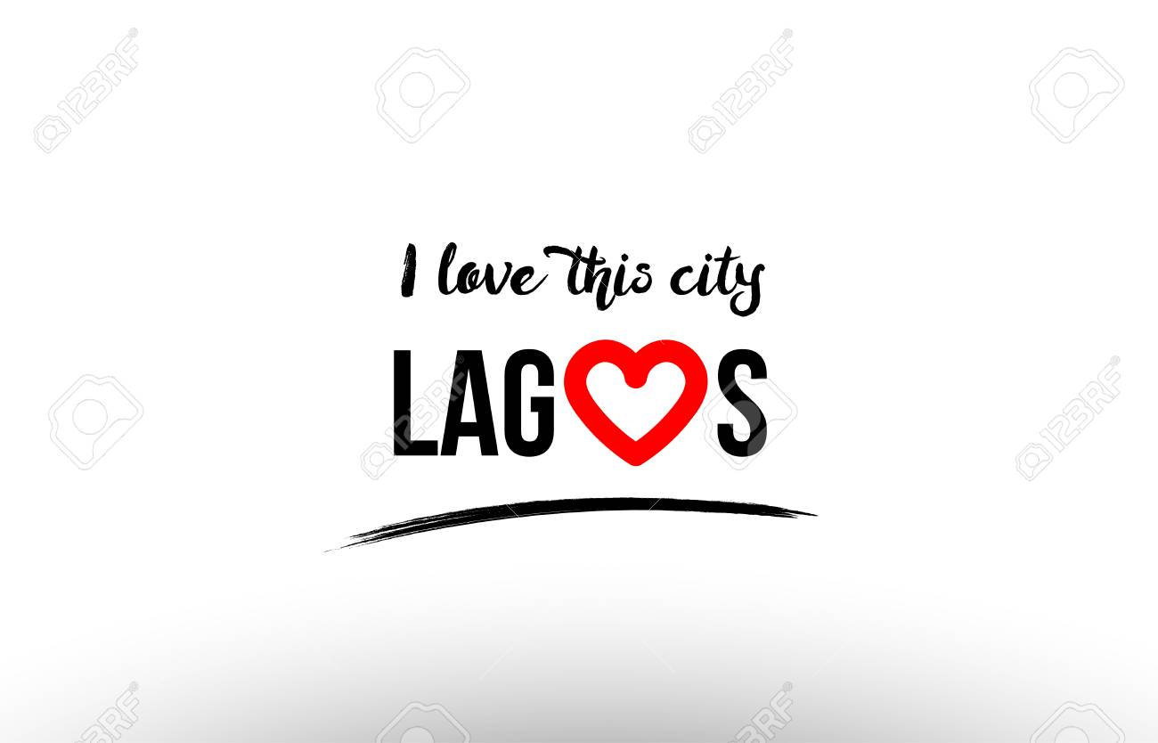 Beautiful Typography Design Of City Lagos Name Icon With Red