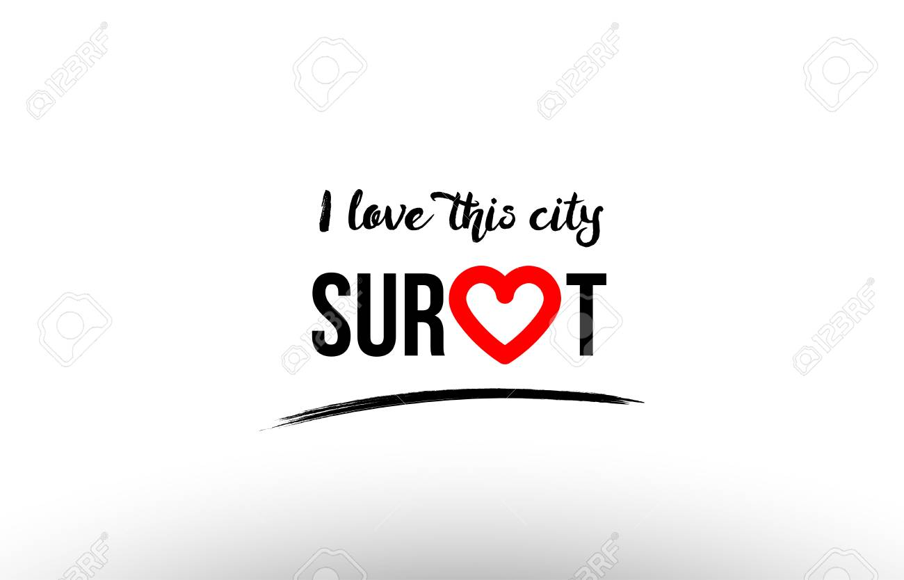 Beaituful Typography Design Of City Surat Name Logo With Red