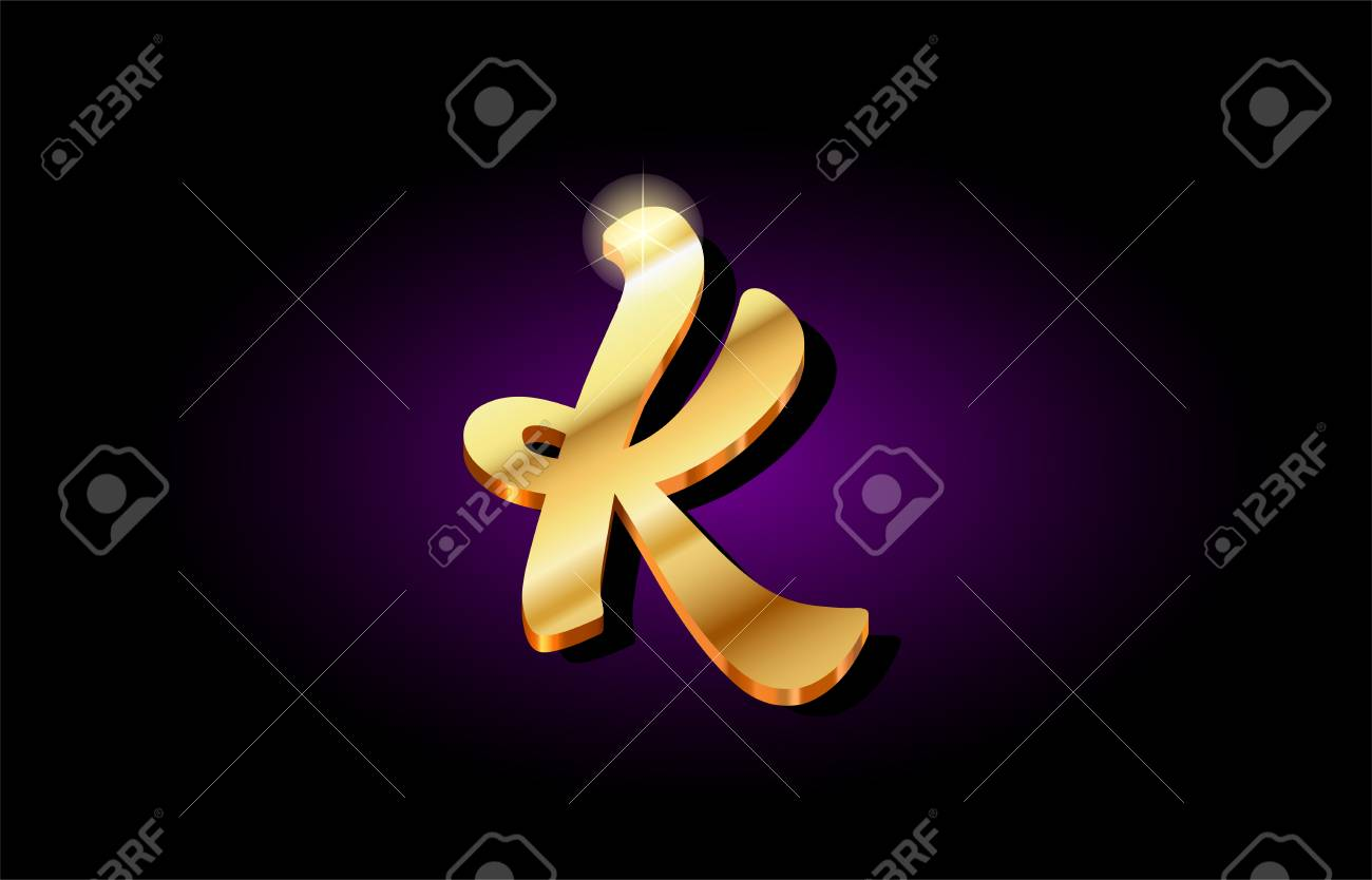 K Alphabet Letter Logo In Gold Golden 3d Metal Beautiful Typography