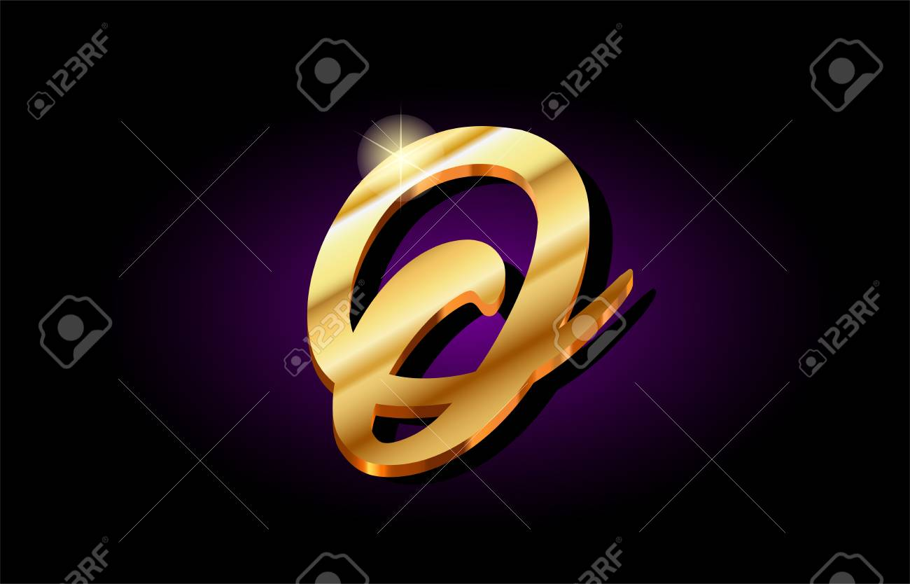 O Alphabet Letter Logo In Gold Golden 3d Metal Beautiful Typography