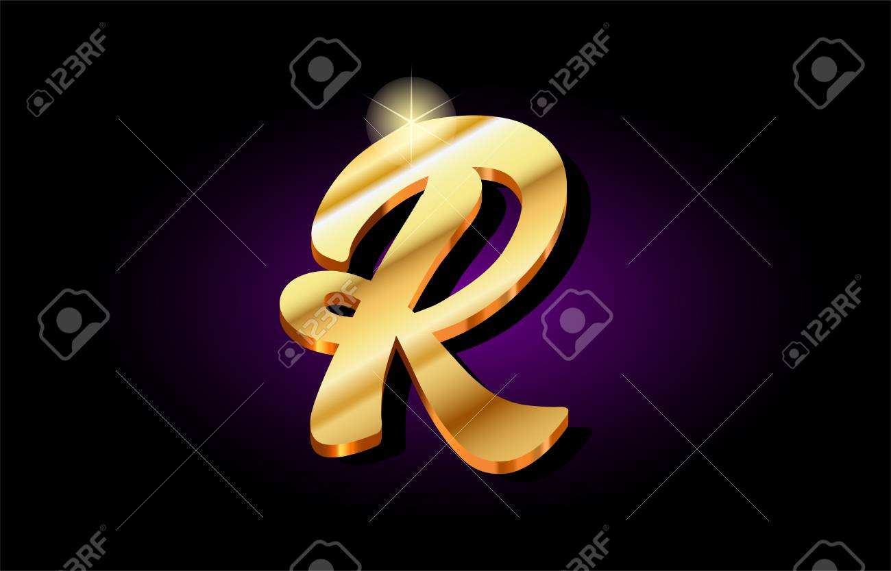 R Alphabet Letter Logo In Gold Golden 3d Metal Beautiful Typography Suitable For Banner Brochure Design