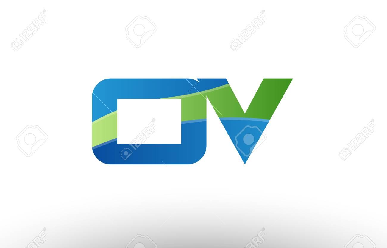 アルファベット文字のロゴの組み合わせov O Vのデザインと青緑色の企業 ...