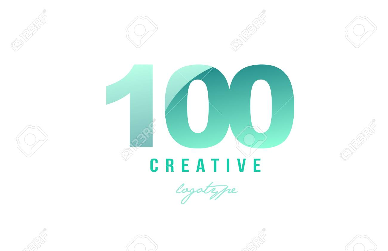 Design Of Number Numeral Digit 100 With Green Pastel Gradient ...
